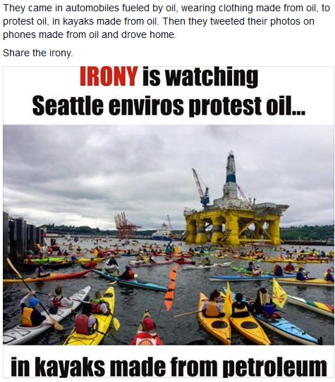 Irony is watching Seattle enviros protest oil... in Kayaks made from Oil