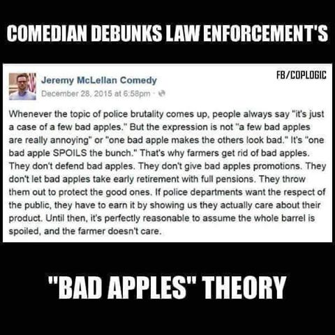 Debunk of Law Enforcements -Bad Apples- Theory